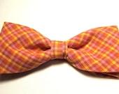 Hot Pink Orange Yellow Plaid New Bow Tie Men Adjustable Neckband Pretied Bowtie Handcrafted Homespun Cotton
