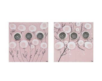 Baby Girl Nursery Art - Two Gray and Pink Flower Wall Art Paintings on Canvas - Small 21x10