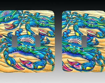 Blue Crabs, Sealife Art , Switchplate, Lightswitch Cover, Lightswitch Plate