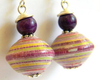 Paper Bead Jewelry - Earrings Large Saucers - #330