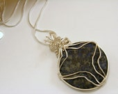 Sterling Silver Wire Wrapped Sodalite Pendant Necklace