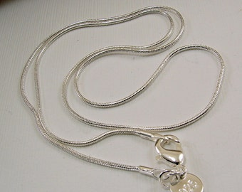 16, 18, 20, 22 and 24 inch Sterling Silver Snake Chain Necklace