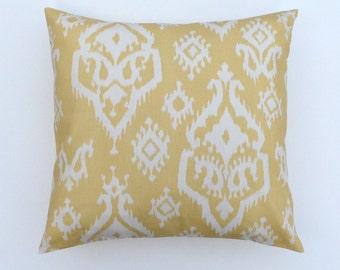 Yellow White Decorative Accent Pillow COVER -  iKat Raji Saffron Yellow Macon - Sizes: 16x16, 18x18, 20x20