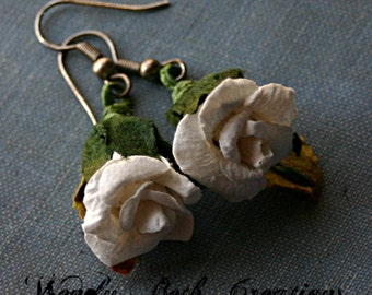 White Paper Rose Earrings
