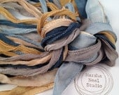 Silk Ribbons Blue Gold Boho Silky and or Fairy Ribbons Jewelry Supplies Wrap Bracelet Ribbons 40 to 42 Inches Long