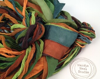 Silk Ribbons Fall Leaf Foliage Color Palette of 10 Silky 10 Fairy Ribbons and 10 2mm silk ribbon cord Chocolate Copper Rust Muted Emerald