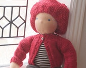 "Soft cashmere/merino hand knit sweater and Beret for your 16"" Tumbleberry Doll"