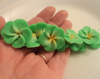 SALE - Handmade Polymer Clay Flower - Green with yellow center