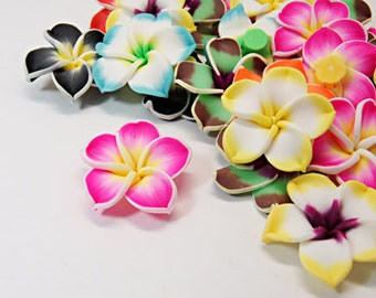 Handmade Polymer Clay Flower Mix - Set of 6