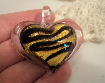 SALE - Glass Heart Pendant - Golden Yellow with Black/Dark Blue Swirls - #PND913