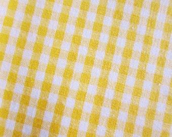 Japanese Fabric - Gingham Fabric in Yellow - Cotton Fabric - Half Yard