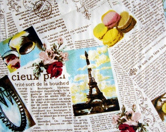 FREE SHIPPING Paris and Macaroons on Pink - Kawaii Cotton Fabric - Newspaper Fabric - (F007) - Fat Quarter