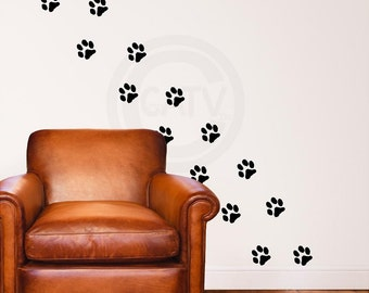 Vinyl decals Set of 20 Paw Prints vinyl lettering art decal wall stickers nursery decor kids room