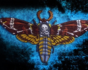 Huge Death's head Hawk Moth Jacket Back Iron on Patch