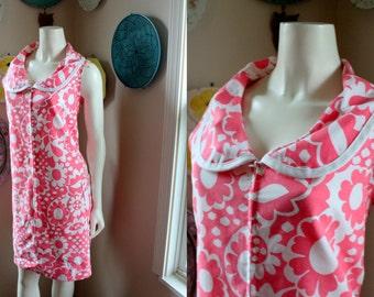 Vintage Dress Pink White Floral Peter Pan Collar