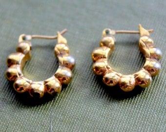 Vintage Earrings MONET Signed Gold Tone Hoop Earrings