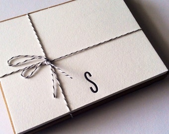 Personalized Monogram Note Cards Letterpress Set of 10 Letter S