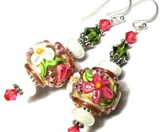 White Pink Earrings Flower Earrings Lampwork Earrings Handmade Earrings Pink Floral Earrings Glass Earrings Beaded Earrings