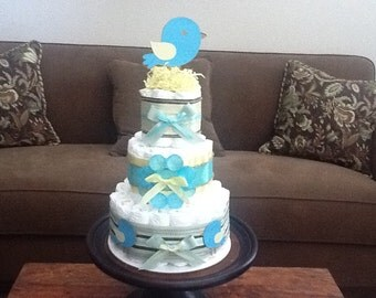 Bird Baby Shower Diaper Cake 3 Tier Centerpieces other colors, toppers and sizes too