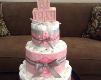 Pink and Grey Diaper Cake Baby Shower Centerpiece other toppers and colors too