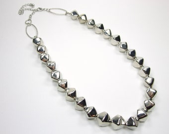 Silver Beaded Statement Necklace - Nugget Bib Necklace - Single Strand Bold Necklace