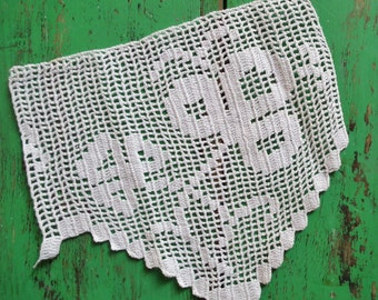 Vintage Antique Filet Crochet Small Panel White Cotton Handmade Hand-Crocheted Clover Leaf Irish Shamrock Ireland St Patrick's Theme