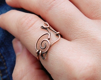 Snail Ring. Wire Snail. Copper. Oxidized. Wire Jewelry