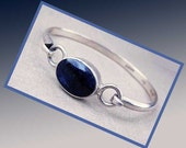 So BLUE--Sterling Silver Sodalite Stone Delicate Bangle Bracelet,Mexico,Vintage Jewelry,Women