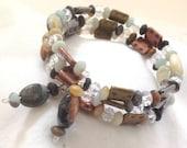 Amazonite Bracelet Memory Wrap Multi Metal, Multi Strand Handmade Original Gemstone - Gray Salmon Cream - Copper Brass and Gunmetal