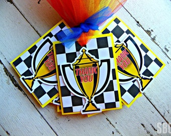 Indy Race Car Favor Tags...Set of 12 Race Car Favor Tags