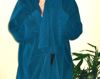 PROVOCATEC Fleece by BASIA DESIGNS  Teal Shawl Jacket w Pockets