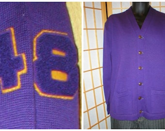 40s purple wool letterman cardigan mens size 44 / xlarge