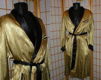50s black and gold satin smoking jacket / robe mens size medium