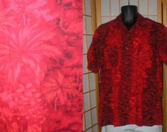50s / 60s red floral and palm tree print Hawaiian shirt mens size large