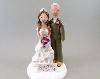 Pilot & Nurse Custom Handmade Wedding Cake Topper