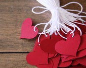 Handmade Paper Heart Tags, Red Tags, Heart Tags, Bridal Shower Tags, Valentines Day Tags, Gift Tags
