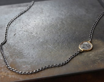Simple Diamond Slice Necklace in 18kt Gold and Sterling Silver-  as seen on Rachel Bilson