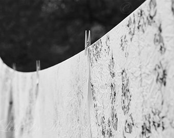 Fresh Linen Photo, Black and White, Rustic Wall Decor, Summer Photograph, Clothes Line, Table Cloth Print, Still Life, Fine Art Photography