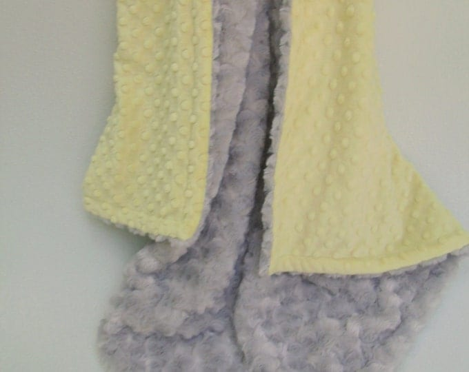 Yellow Minky Dot  and Silver Gray Swirl Blanket for baby Toddler or AdultCan Be Personalized