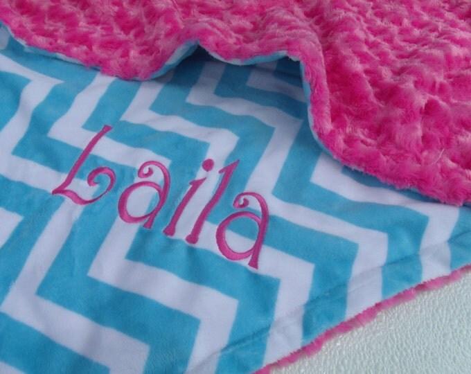 Hot Pink and Aqua Minky Baby Blanket Chevron Pattern