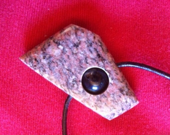 Pink Granite Pendant with a Kambaba Jasper bead in the center