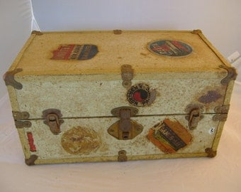Sweet Antique 1930s Doll Steamer Trunk with Drawers & Travel Stickers Decals, Delta Airlines, TWA, Streamliner Railway Denver, Great Display