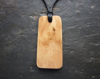 "Natural Wood Pendant - Hazel/Coll - Unique Ogham ""Secret Sigil"" Design."
