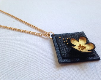 """Gold color floral leather pendant Statement necklace Flower Leather Jewelry """"Nature inspired"""" collection"""