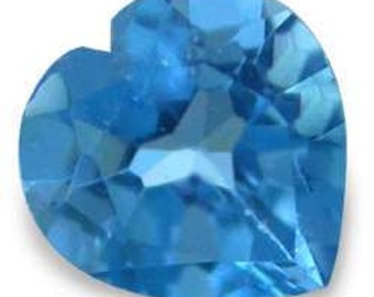 one 7mm Heart Faceted ~ Genuine ~ London Blue Topaz ~ with certificate of authenticity ~  FDK