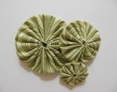 Fabric Yo-Yos - Green Striped Print - Cotton - Fabric Embellishments - Fabric Appliques