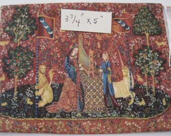 Dollhouse Harp tapestry, Lady and Unicorn.  Medieval Tapestry hanging, tapestry, Tudor, twelfth scale dollhouse miniature