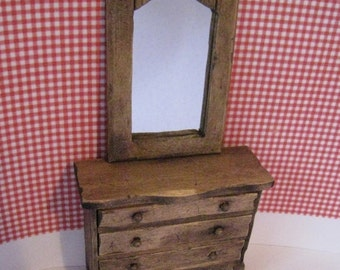 dollhouse chest, drawers, mirrored chest, dark oak, country look, twelfth scale