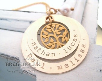 Personalized Hand Stamped Mommy Necklace - Gold Personalized Jewelry - Brag About It - My Family Tree (Double Washer)