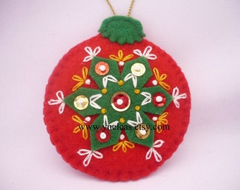 Felt Christmas Ornament  in red and green  hand embroidered with sequins